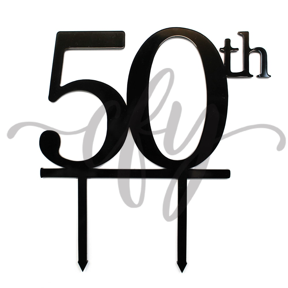 Awesome 50Th Birthday Cake Topper Acrylic Fifty Black Gc Creations For You Personalised Birthday Cards Veneteletsinfo