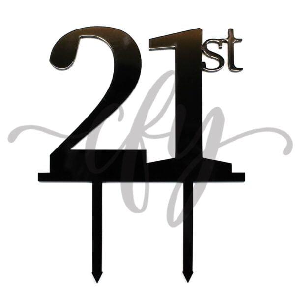 21st Birthday Cake Topper Rose Gold Mirror Glitter Black Acrylic Wood Twenty First Any Age MTO GC