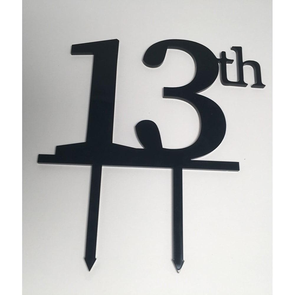 Cake Topper Birthday 13th Acrylic Black