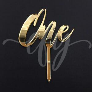 1st Birthday Cake Topper Acrylic Script Rose Gold Mirror Black Wood One MTO FA