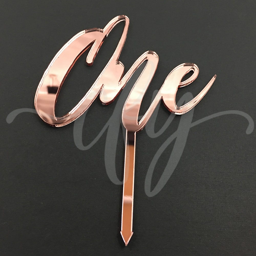 1st Birthday Cake Topper Acrylic Script One Rose Gold Mirror