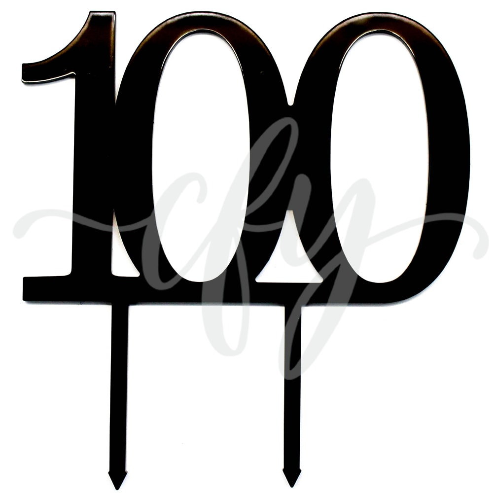 100th Birthday Cake Topper Acrylic One Hundred Black