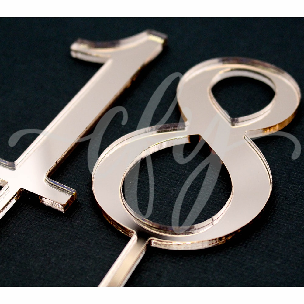 18th Birthday Cake Topper Acrylic Eighteen Rose Gold Mirror