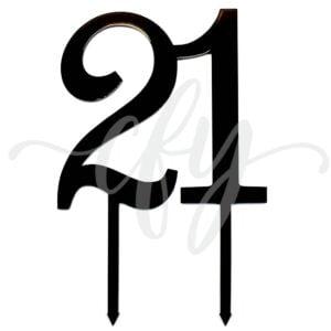 21st Birthday Cake Topper Rose Gold Mirror Glitter Black Acrylic Wood Twenty First Any Age MTO FG