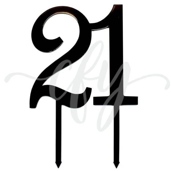 21st Birthday Cake Topper Rose Gold Mirror Glitter Black Acrylic Wood Twenty First Any Age FG