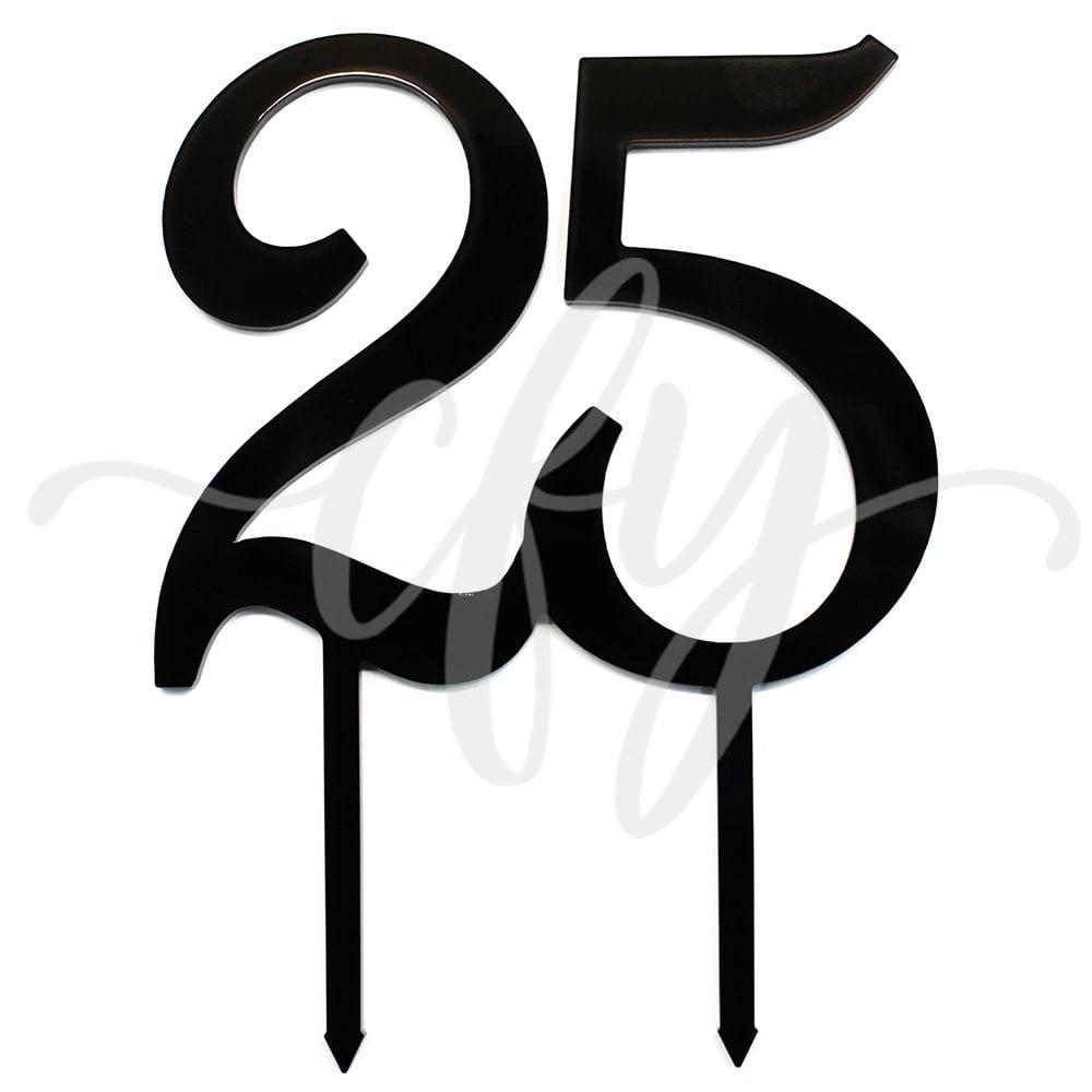 25th Birthday Cake Topper Acrylic Twenty Five Black
