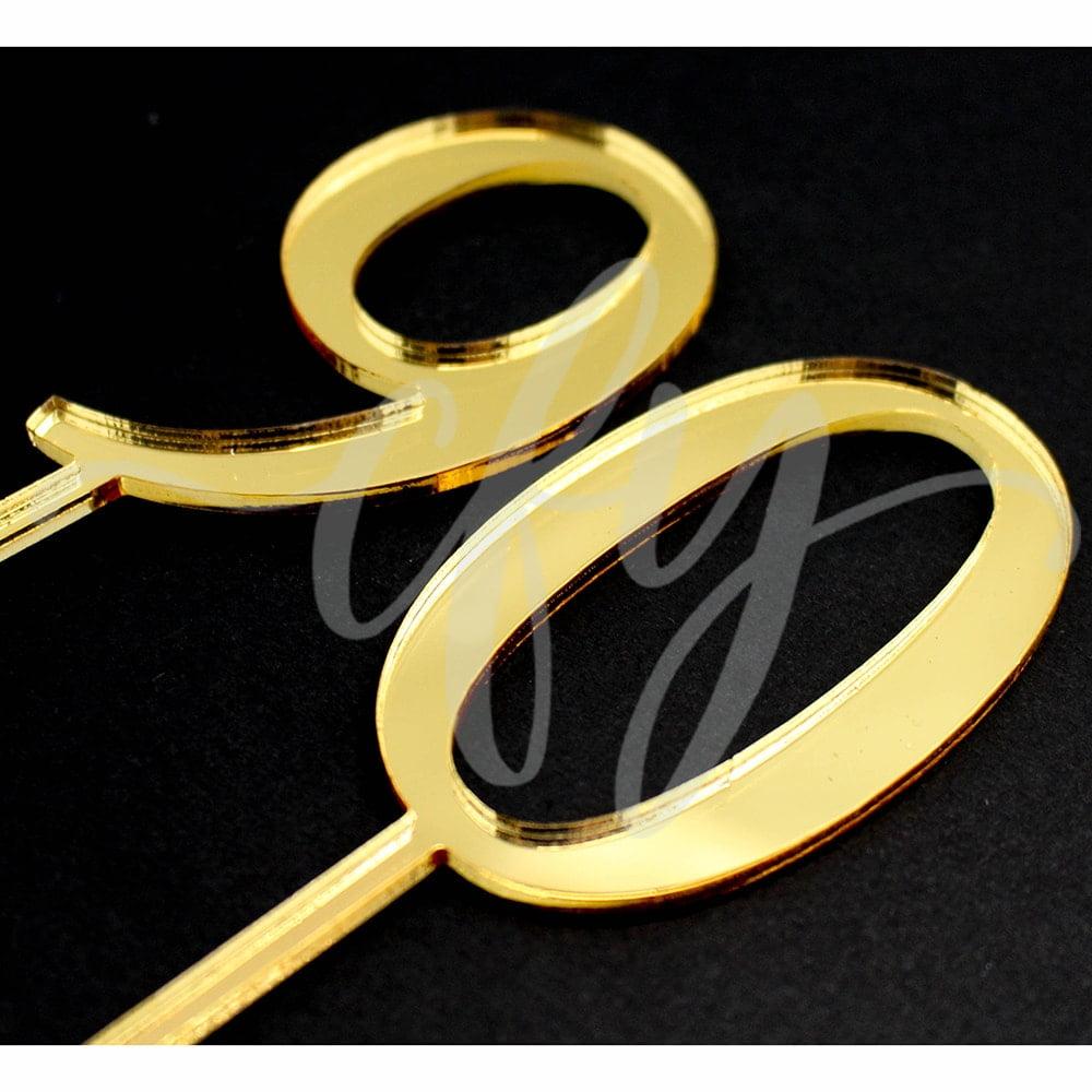 90th Birthday Cake Topper Acrylic Ninety Gold Mirror