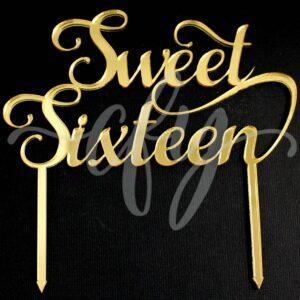 16th Birthday Cake Topper Acrylic Rose Gold Mirror Sweet Sixteen MTO FL