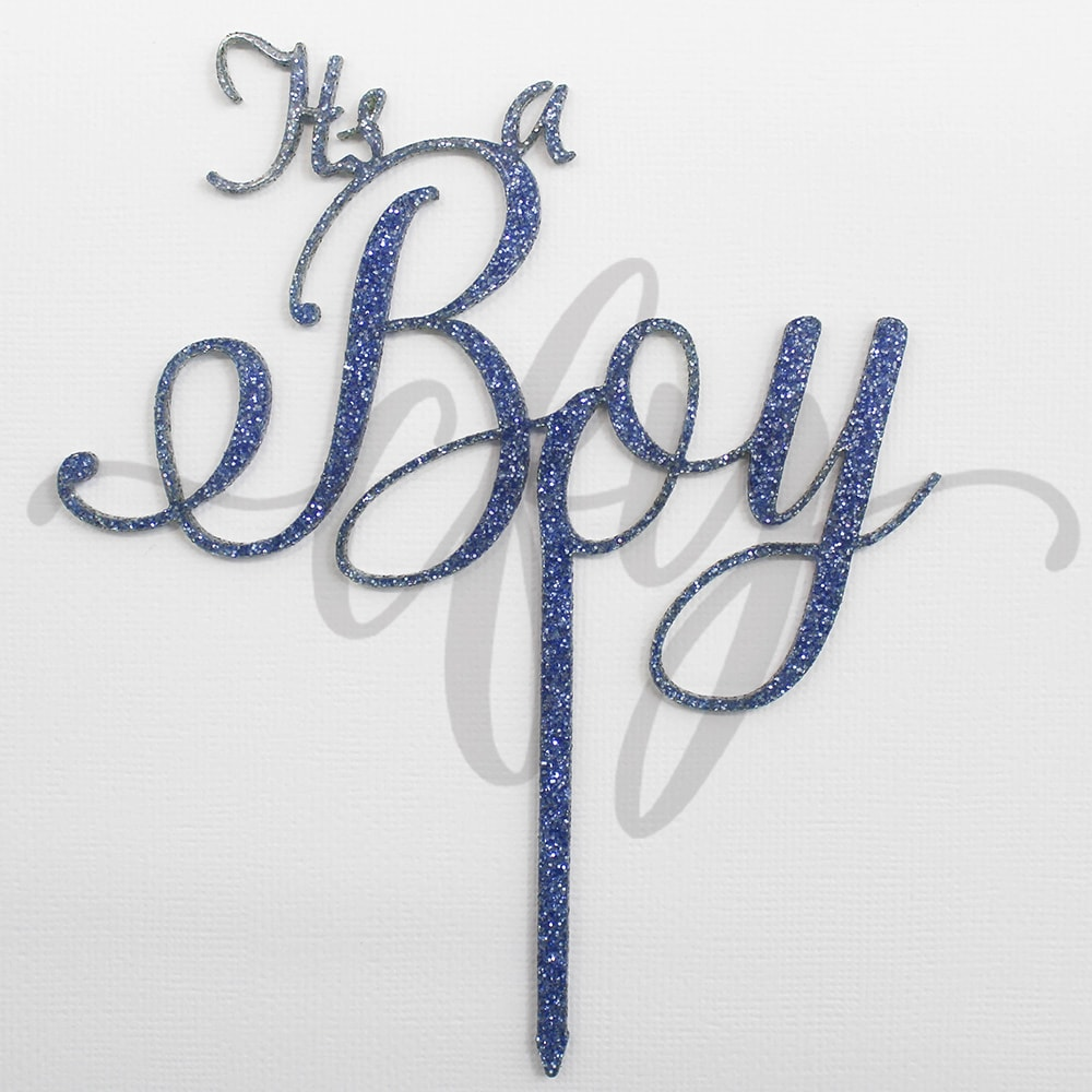 c02dcd3913e45 Its a Boy Cake Topper Acrylic Script Blue Glitter Baby Shower