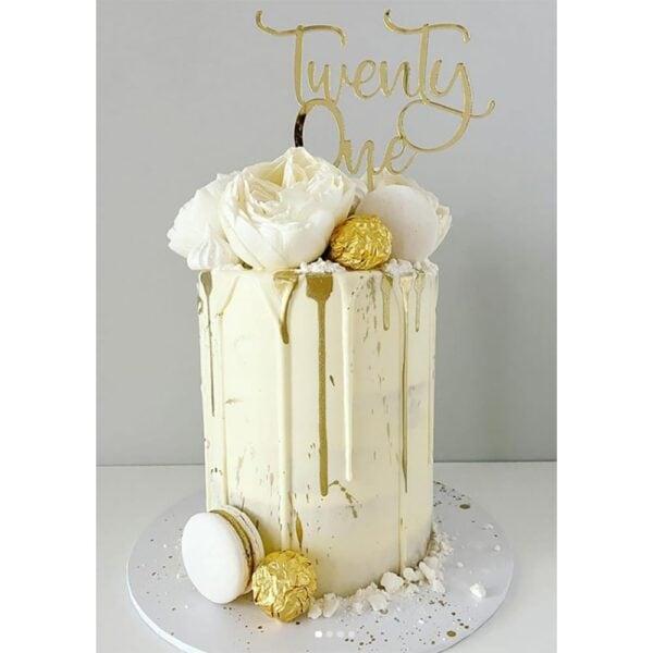21st Birthday Cake Topper Acrylic Rose Gold Mirror Twenty One MTO FD