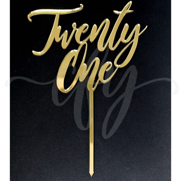 21st Birthday Cake Topper Rose Gold Mirror Glitter Black Acrylic Wood Twenty First Any Age MTO FA