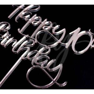 Happy 10th Birthday Cake Topper Rose Gold Mirror Glitter Black Acrylic Wood Any Age MTO FD