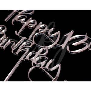 Happy 13th Birthday Cake Topper Rose Gold Mirror Glitter Black Acrylic Wood Thirteen Any Age MTO FD