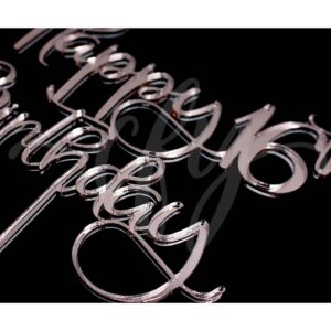 Happy 16th Birthday Cake Topper Rose Gold Mirror Glitter Black Acrylic Wood Sweet Sixteen Any Age FD