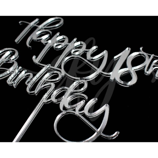 Happy 18th Birthday Cake Topper Rose Gold Mirror Glitter Black Acrylic Wood Eighteen Any Age FD