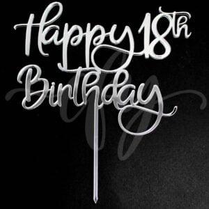 Happy 18th Birthday Cake Topper Rose Gold Mirror Glitter Black Acrylic Wood Eighteen Any Age MTO FD
