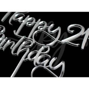 Happy 21st Birthday Cake Topper Rose Gold Mirror Glitter Black Acrylic Wood Twenty First Any Age MTO FD