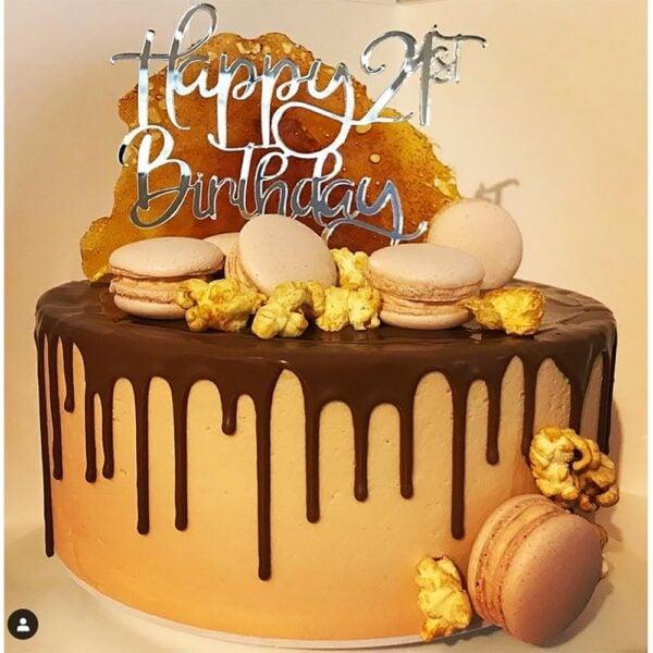 Happy 21st Birthday Cake Topper Rose Gold Mirror Glitter Black Acrylic Wood Twenty First Any Age FD