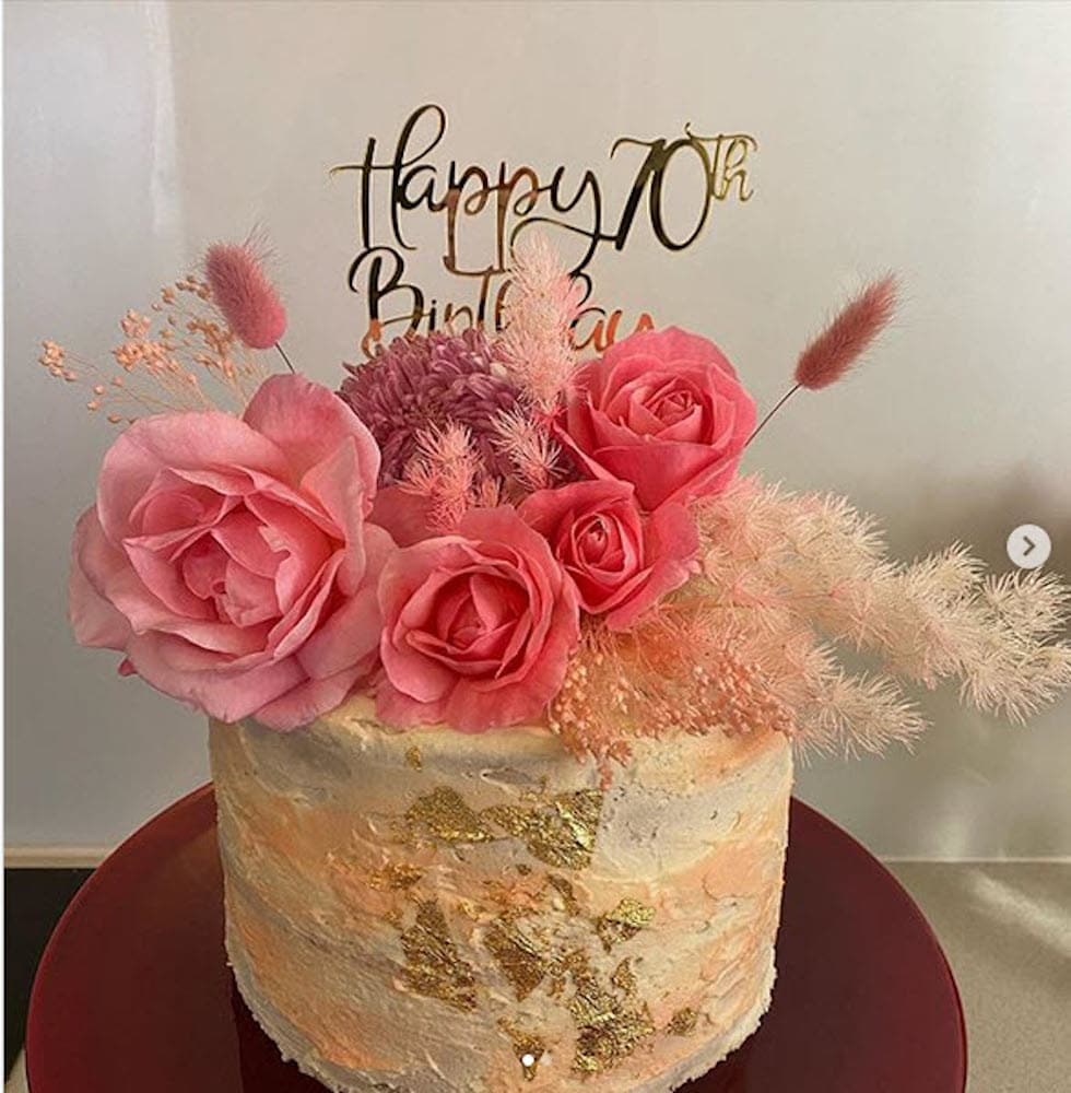 Happy 70th Birthday Cake Topper Acrylic Rose Gold Mirror Black Fd Creations For You