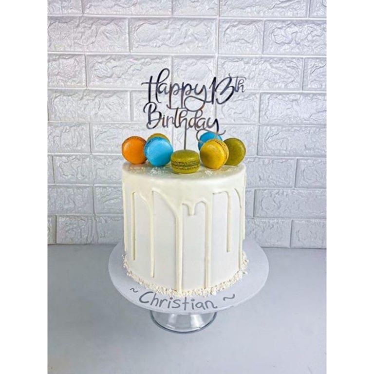 Happy 13th Birthday Cake Topper Rose Gold Mirror Glitter Black Acrylic Wood Thirteen Any Age FD