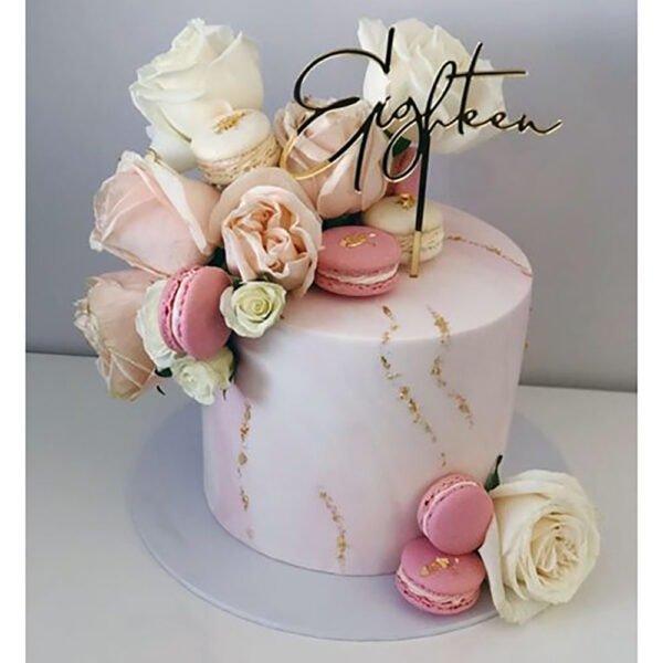 18th Birthday Cake Topper Acrylic Script Rose Gold Mirror Black Eighteen MTO GH