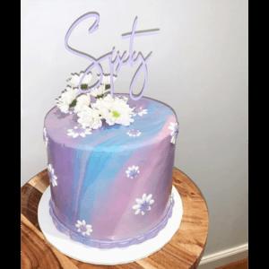 60th Birthday Cake Topper Acrylic Script Rose Gold Mirror Sixty MTO GH