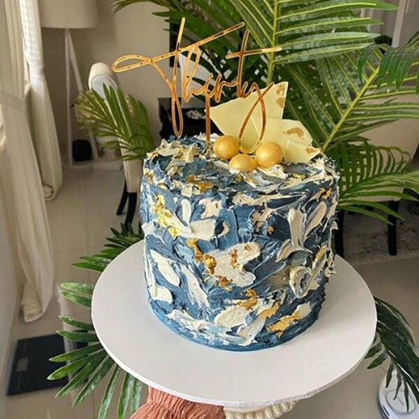 30th Birthday Cake Topper Acrylic Script Rose Gold Mirror Black Thirty MTO GH