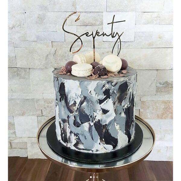 70th Birthday Cake Topper Acrylic Script Rose Gold Mirror Seventy MTO GH