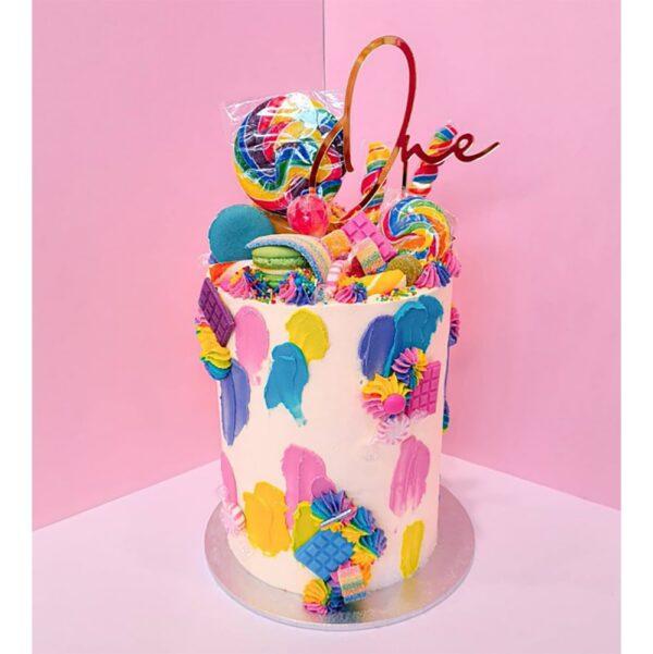 1st Birthday Cake Topper Acrylic Script Rose Gold Mirror Black One MTO GH