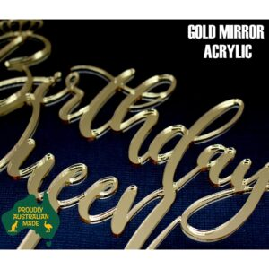 Birthday Queen Cake Topper Acrylic Script Crown Rose Gold Mirror Glitter MTO FP