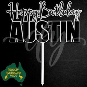 Personalised Happy Birthday Name Layered Acrylic Cake Topper Austin MTO